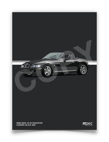 Print of 1998 BMW Z3 M Roadster in Cosmos Black 303