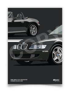 Print of 1998 BMW Z3 M Roadster in Cosmos Black 303 - Double