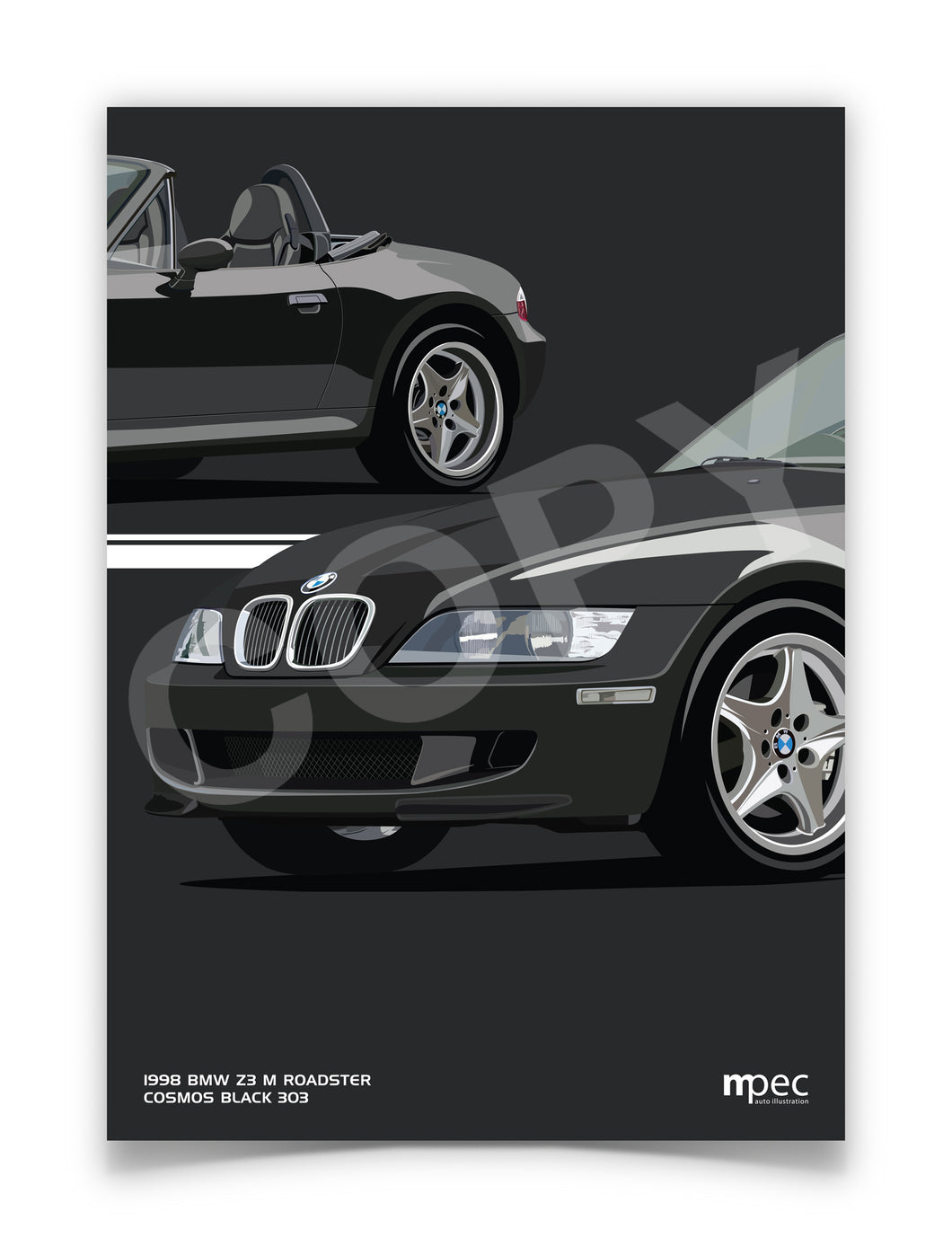 Print of 1998 BMW Z3 M Roadster in Cosmos Black 303 - Close Ups