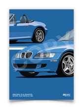 Load image into Gallery viewer, Print of 1998 BMW Z3 M Roadster in Estoril Blue Metallic 335 - Close Ups