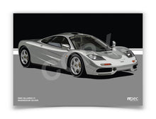 Load image into Gallery viewer, Landscape Print of 1993 McLaren F1 in Magnesium Silver