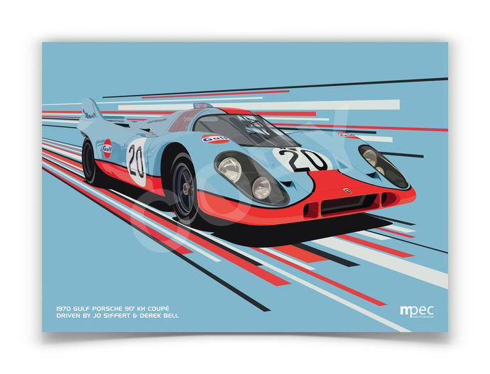 Landscape Illustration of 1970 Gulf Porsche 917 KH Coupé