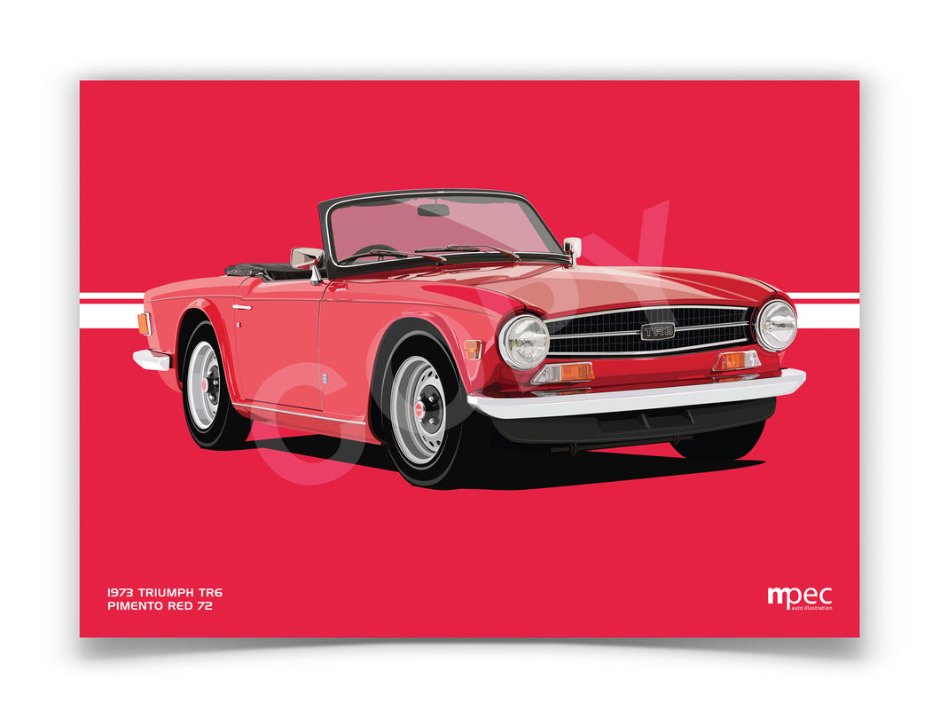 Illustration 1973 Triumph TR6 Pimento Red 72