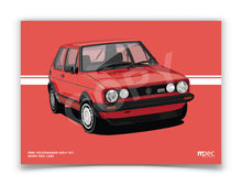 Load image into Gallery viewer, Landscape Print of 1983 Volkswagen Golf GTI in Mars Red LA3A