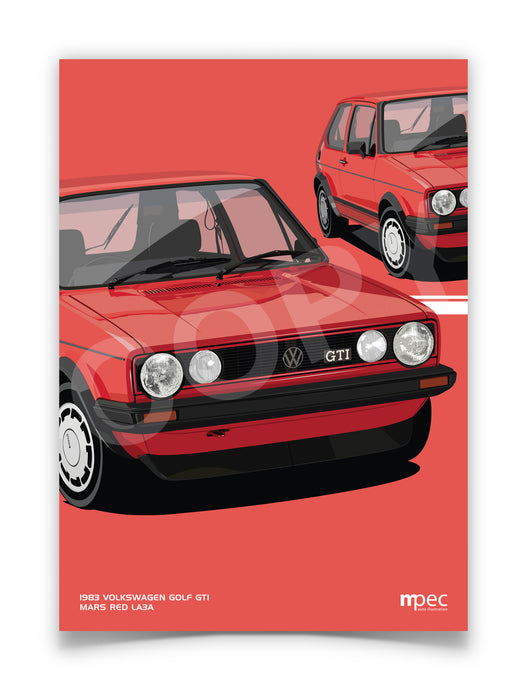 Print of 1983 Volkswagen Golf GTI in Mars Red LA3A - Close Ups