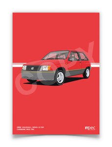 Print of 1986 Vauxhall Nova 1.3 SR in Carmine Red 76L