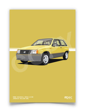 Print of 1986 Vauxhall Nova 1.3 SR in Jamaica Yellow 59L