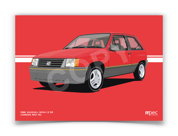 Landscape Illustration 1986 Vauxhall Nova 1.3 SR Carmine Red 76L