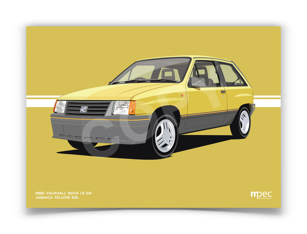 Landscape Print of 1986 Vauxhall Nova 1.3 SR in Jamaica Yellow 59L