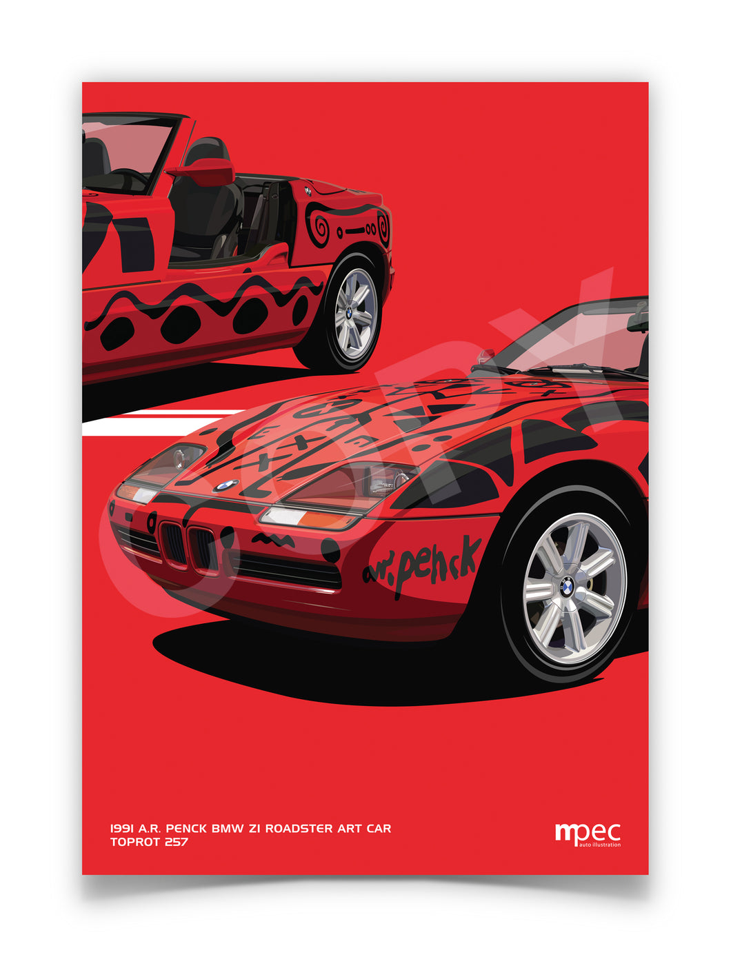 Print of 1991 A.R. Penck BMW Z1 Roadster Art Car in Toprot 257 - Close Up