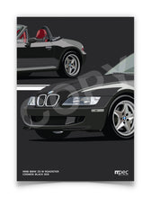 Load image into Gallery viewer, Print of 1998 BMW Z3 M Roadster in Cosmos Black 303 with red and black seats - Close Ups