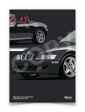 Print of 1998 BMW Z3 M Roadster in Cosmos Black 303 with red and black seats - Close Ups