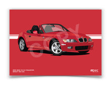 Load image into Gallery viewer, Landscape Print of 1999 BMW Z3 2.0 Roadster in Bright Red 314