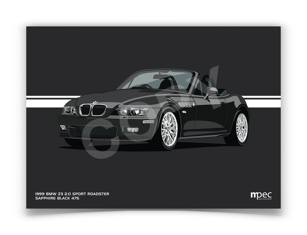 Landscape Print of 1999 BMW Z3 2.0 Roadster in Sapphire Black 475