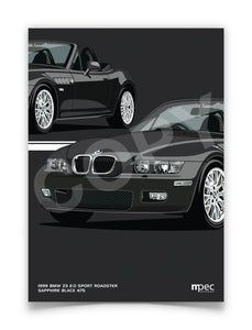 Print of 1999 BMW Z3 2.0 Roadster in Sapphire Black 475 - Close Ups