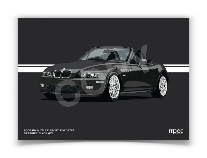 Landscape Illustration 2002 BMW Z3 2.2 Roadster Sapphire Black 475