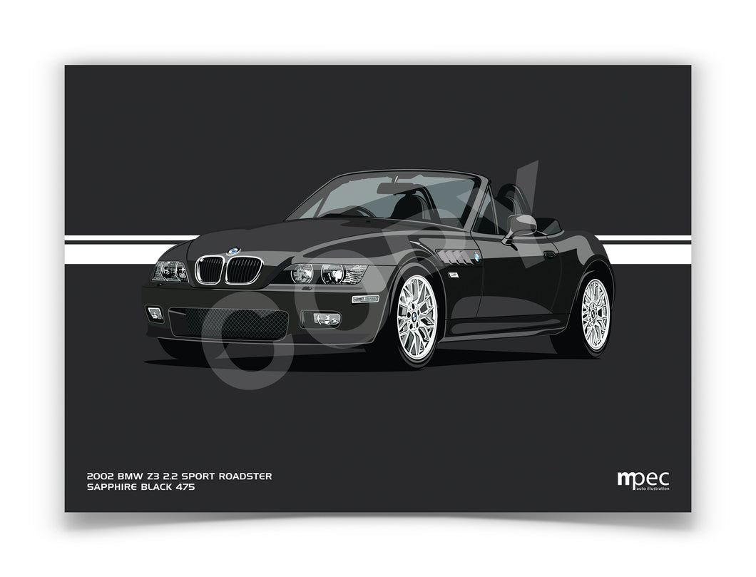 Landscape Print of 2002 BMW Z3 2.2 Roadster in Sapphire Black 475
