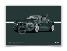 Load image into Gallery viewer, Landscape Print of 2001 BMW Z3 3.0 Sport Roadster in Oxford Green II 430