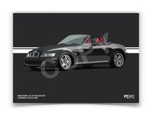 Load image into Gallery viewer, Landscape Print of 1998 BMW Z3 M Roadster in Cosmos Black 303 with red and black seats