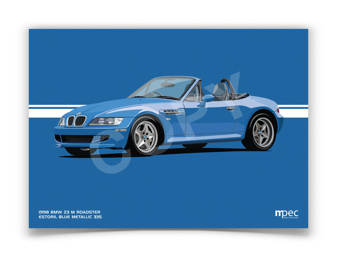 Landscape Illustration 1998 BMW Z3 M Roadster Estoril Blue Metallic 335