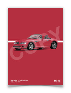 Print of 1998 BMW Z3 M Roadster in Imola Red 405