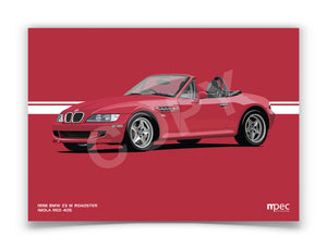 Landscape Print of 1998 BMW Z3 M Roadster in Imola Red 405