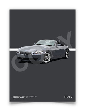 Print of 2008 BMW Z4 3.0Si Roadster in Stratus Grey 440