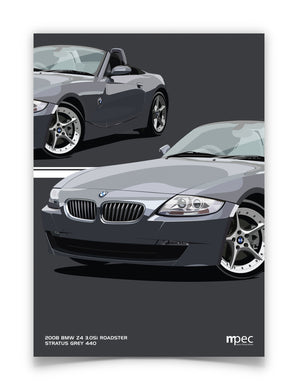 Print of 2008 BMW Z4 3.0Si Roadster in Stratus Grey 440 - Close Ups