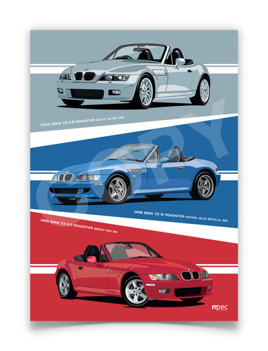 Combined Print of 3 off BMW Z3 Roadsters