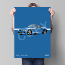 Load image into Gallery viewer, Print of 1998 BMW Z3 M Roadster in Estoril Blue Metallic 335