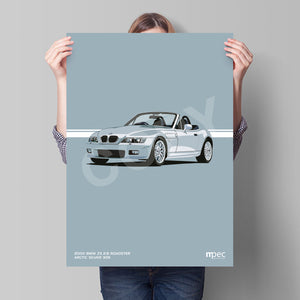 Print of 2000 BMW Z3 2.8 Roadster in Arctic Silver 309
