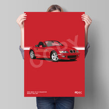 Load image into Gallery viewer, Print of 1999 BMW Z3 2.0 Roadster in Bright Red 314