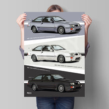 Load image into Gallery viewer, Combined Print of all 3 1987 Ford Sierra RS Cosworths, in Blue, Black & White