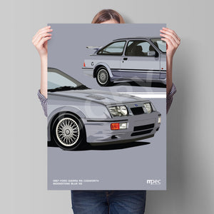 Print of 1987 Ford Sierra RS Cosworth in Moonstone Blue K6 - Close Ups
