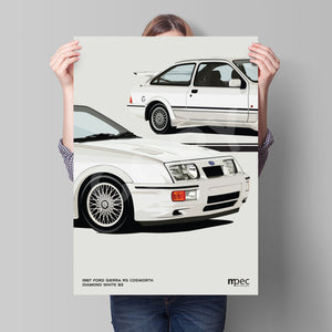 Print of 1987 Ford Sierra RS Cosworth in Diamond White B3 - Close Ups