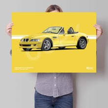 Load image into Gallery viewer, Landscape Print of 1998 BMW Z3 M Roadster in Dakar Yellow 337