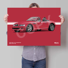 Load image into Gallery viewer, Landscape Print of 1998 BMW Z3 M Roadster in Imola Red 405