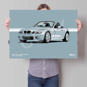 Landscape Print of 2000 BMW Z3 2.8 Roadster in Arctic Silver 309