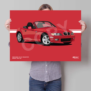 Landscape Print of 1999 BMW Z3 2.0 Roadster in Bright Red 314