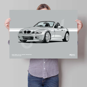 Landscape Print of 2001 BMW Z3 2.2 Roadster in Titan Silver 354