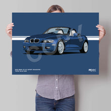 Load image into Gallery viewer, Landscape Print of 2001 BMW Z3 3.0 Sport Roadster in Topaz Blue 364