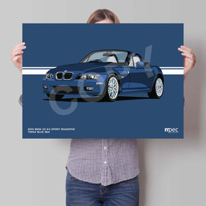 Landscape Print of 2001 BMW Z3 3.0 Sport Roadster in Topaz Blue 364