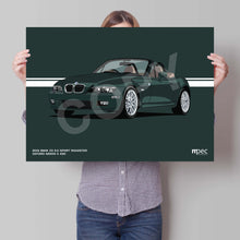 Load image into Gallery viewer, Landscape Illustration 2001 BMW Z3 3.0 Sport Roadster Oxford Green II 430