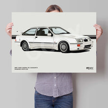 Load image into Gallery viewer, Landscape Print of 1987 Ford Sierra RS Cosworth in Diamond White B3