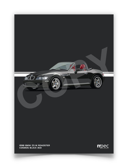 Illustration 1998 BMW Z3 M Roadster Cosmos Black 303 - Red and Black Seats
