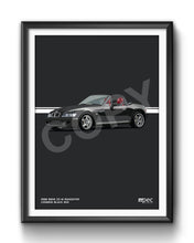 Load image into Gallery viewer, Print of 1998 BMW Z3 M Roadster in Cosmos Black 303 with red and black seats
