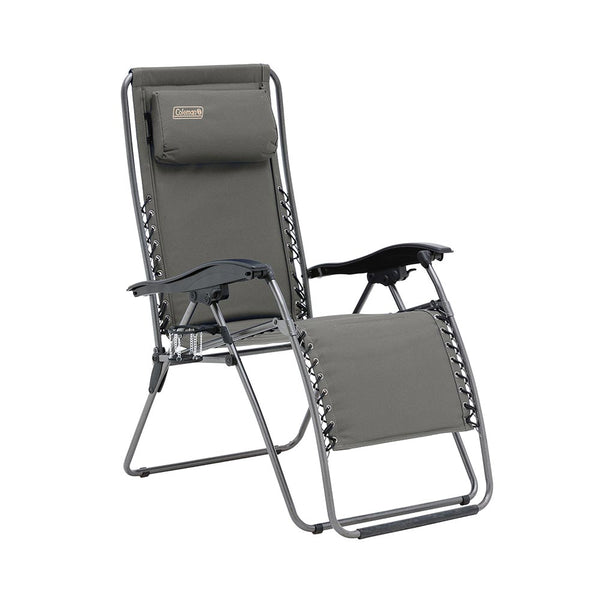 Coleman Layback Lounger Folds Flat Charcoal Grey