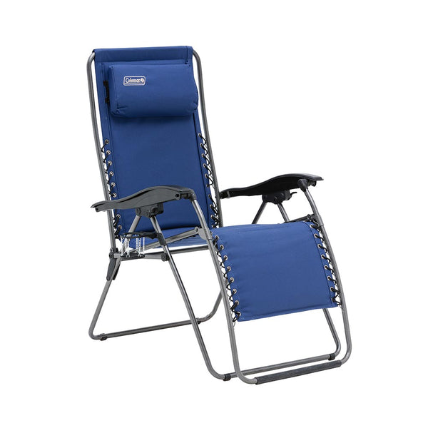 Coleman Layback Lounger Folds Flat Navy Blue
