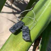 Load image into Gallery viewer, Recycled Sterling Silver & Larvikite Crystal Earrings