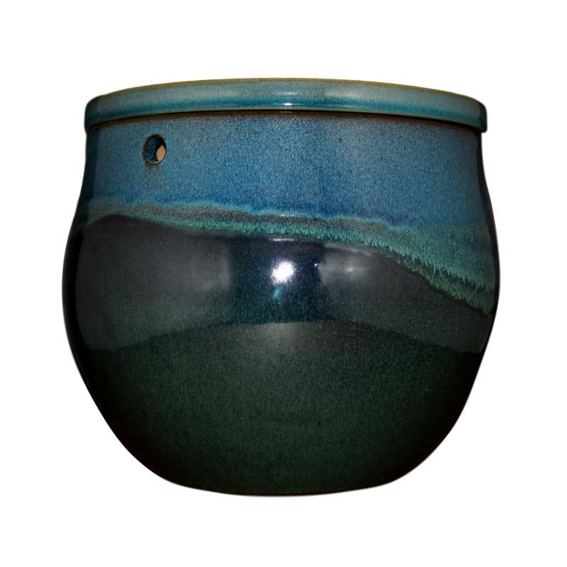 "12"" Teal Ocean Teardrop Self Watering Pot"